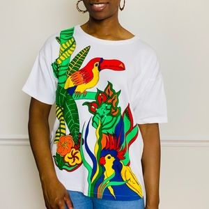 vintage 80s tropical bird t-shirt